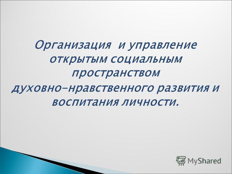 Организация и управление открытым социальным пространством духовно-нравственного развития и воспитания личности.