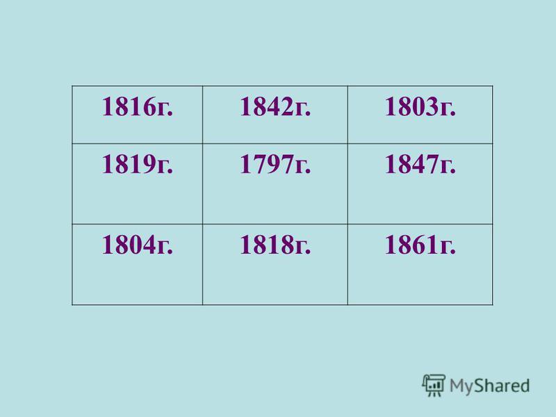 1816 г.1842 г.1803 г. 1819 г.1797 г.1847 г. 1804 г.1818 г.1861 г.