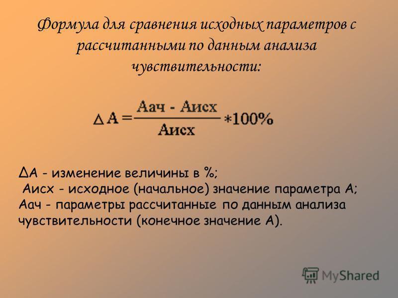 Формула для сравнения исходных параметров с рассчитанными по данным анализа чувствительности: А - изменение величины в %; Аисх - исходное (начальное) значение параметра А; Аач - параметры рассчитанные по данным анализа чувствительности (конечное знач