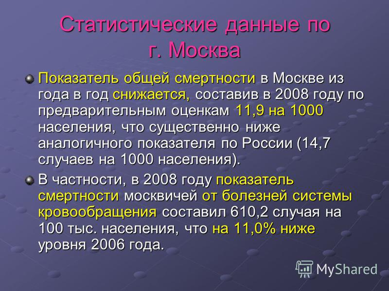 Статистические данные по г. Москва Показатель общей смертности в Москве из года в год снижается, составив в 2008 году по предварительным оценкам 11,9 на 1000 населения, что существенно ниже аналогичного показателя по России (14,7 случаев на 1000 насе