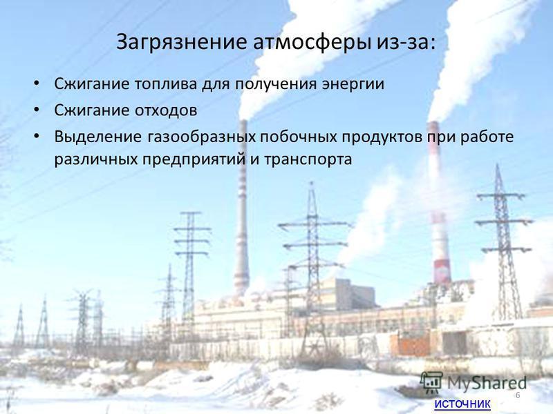 Загрязнение атмосферы из-за: Сжигание топлива для получения энергии Сжигание отходов Выделение газообразных побочных продуктов при работе различных предприятий и транспорта 6 источник