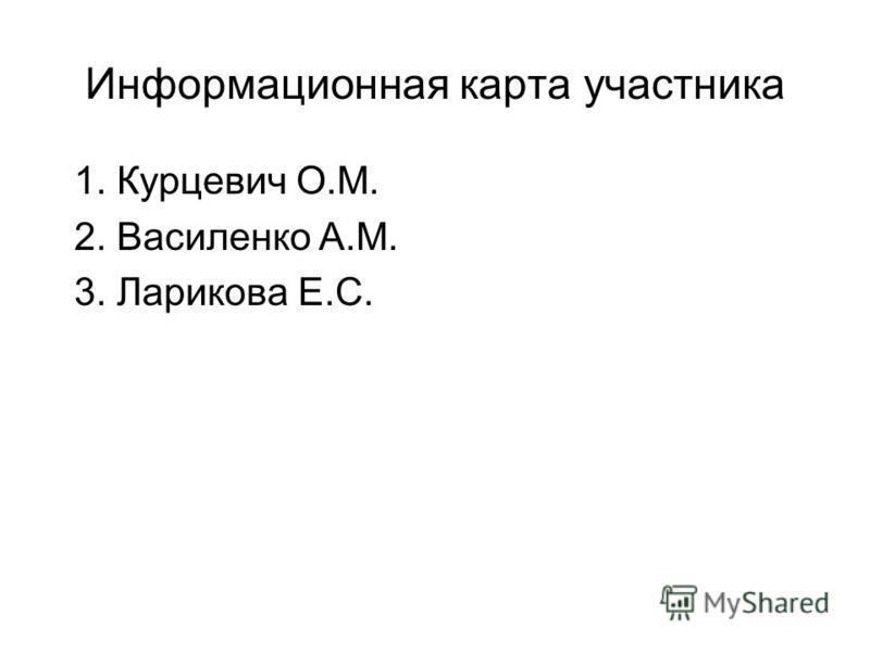Информационная карта участника 1. Курцевич О.М. 2. Василенко А.М. 3. Ларикова Е.С.