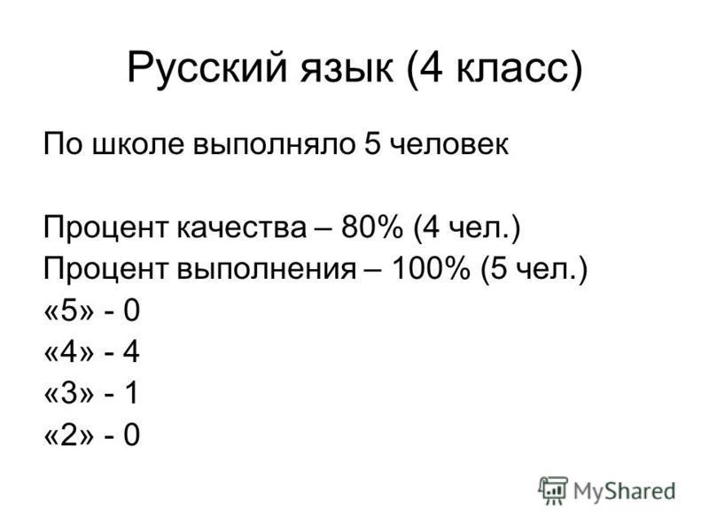 Русский язык (4 класс) По школе выполняло 5 человек Процент качества – 80% (4 чел.) Процент выполнения – 100% (5 чел.) «5» - 0 «4» - 4 «3» - 1 «2» - 0
