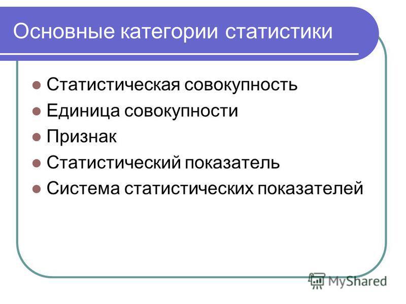 Основные категории статистики Статистическая совокупность Единица совокупности Признак Статистический показатель Система статистических показателей