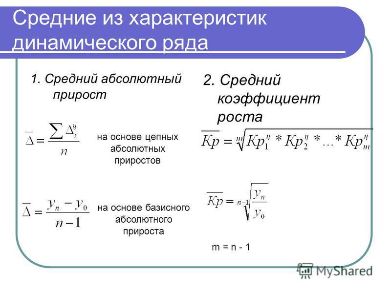Средние из характеристик динамического ряда 1. Средний абсолютный прирост 2. Средний коэффициент роста на основе цепных абсолютных приростов на основе базисного абсолютного прироста m = n - 1