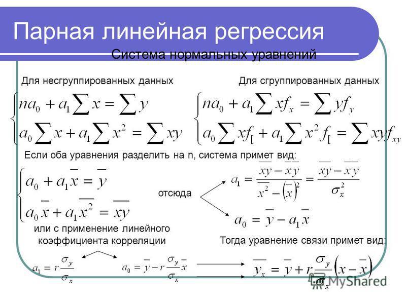 Парная линейная регрессия Система нормальных уравнений Для несгруппированных данных Для сгруппированных данных Если оба уравнения разделить на n, система примет вид: отсюда или с применение линейного коэффициента корреляции Тогда уравнение связи прим