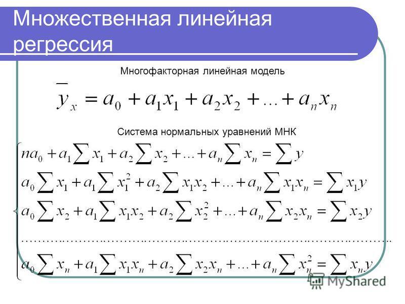 Множественная линейная регрессия Многофакторная линейная модель Система нормальных уравнений МНК