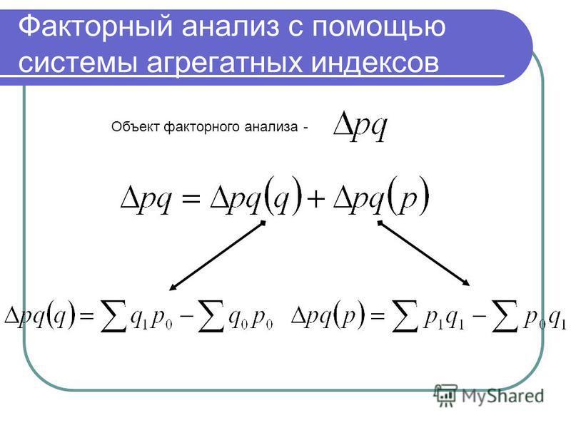 Факторный анализ с помощью системы агрегатных индексов Объект факторного анализа -