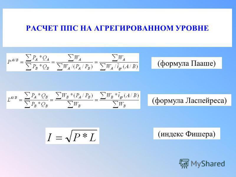 РАСЧЕТ ППС НА АГРЕГИРОВАННОМ УРОВНЕ (формула Пааше) (формула Ласпейреса) (индекс Фишера)