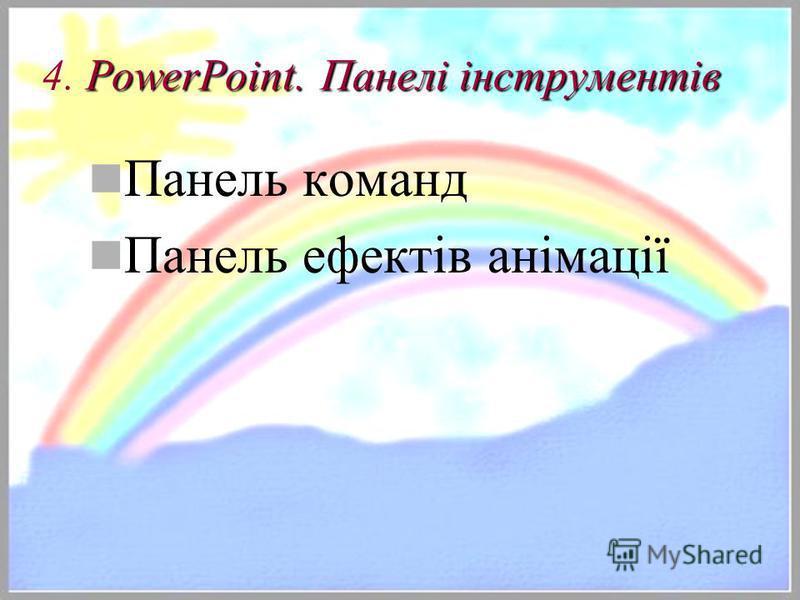 PowerPoint. Панелі інструментів 4. PowerPoint. Панелі інструментів Панель команд Панель ефектів анімації