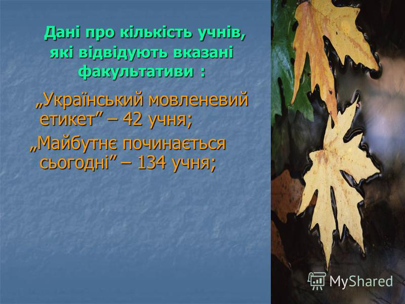 Дані про кількість учнів, які відвідують вказані факультативи : Дані про кількість учнів, які відвідують вказані факультативи : Український мовленевий етикет – 42 учня; Український мовленевий етикет – 42 учня; Майбутнє починається сьогодні – 134 учня