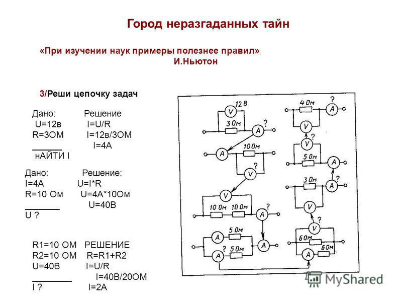 Город неразгаданных тайн 3/Реши цепочку задач «При изучении наук примеры полезнее правил» И.Ньютон Дано: Решение U=12 в I=U/R R=3ОМ I=12 в/3ОМ ______ I=4А нАЙТИ I Дано: Решение: I=4А U=I*R R=10 Ом U=4А*10Ом _______ U=40В U ? R1=10 ОМ РЕШЕНИЕ R2=10 ОМ