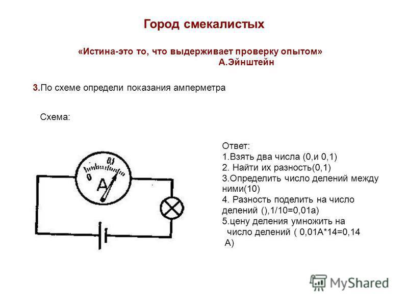 Город смекалистых «Истина-это то, что выдерживает проверку опытом» А.Эйнштейн 3. По схеме определи показания амперметра Схема: Ответ: 1. Взять два числа (0,и 0,1) 2. Найти их разность(0,1) 3. Определить число делений между ними(10) 4. Разность подели