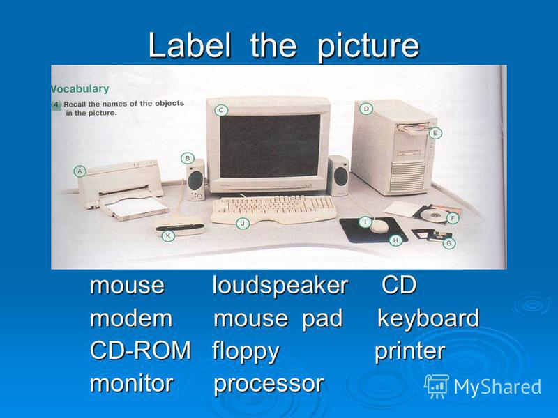 Label the picture mouse loudspeaker CD modem mouse pad keyboard CD-ROM floppy printer monitor processor