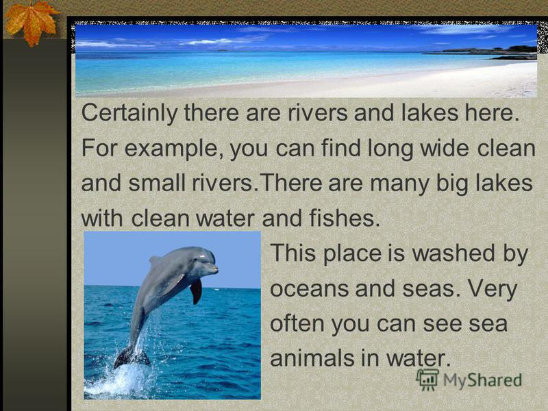 Certainly there are rivers and lakes here. For example, you can find long wide clean and small rivers.There are many big lakes with clean water and fishes. This place is washed by oceans and seas. Very often you can see sea animals in water.