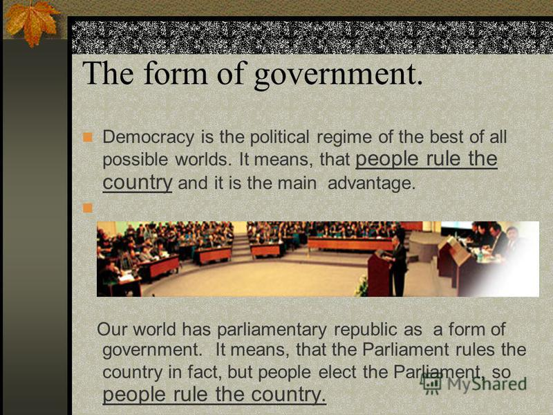 an analysis of democracy as a form of government ruled by the people in john mccarthy Start studying government quiz sec 1-2 learn vocabulary  a democracy in which people assemble to make major government decisions government ruled by one.