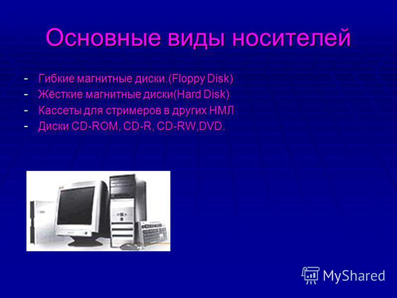 Основные виды носителей - Гибкие магнитные диски.(Floppy Disk) - Жёсткие магнитные диски(Hard Disk) - Кассеты для стримеров в других НМЛ - Диски CD-ROM, CD-R, CD-RW,DVD.