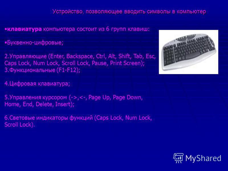 Устройство, позволяющее вводить символы в компьютер Устройство, позволяющее вводить символы в компьютер клавиатура компьютера состоит из 6 групп клавиш: Буквенно-цифровые; 2. Управляющие (Enter, Backspace, Ctrl, Alt, Shift, Tab, Esc, Caps Lock, Num L