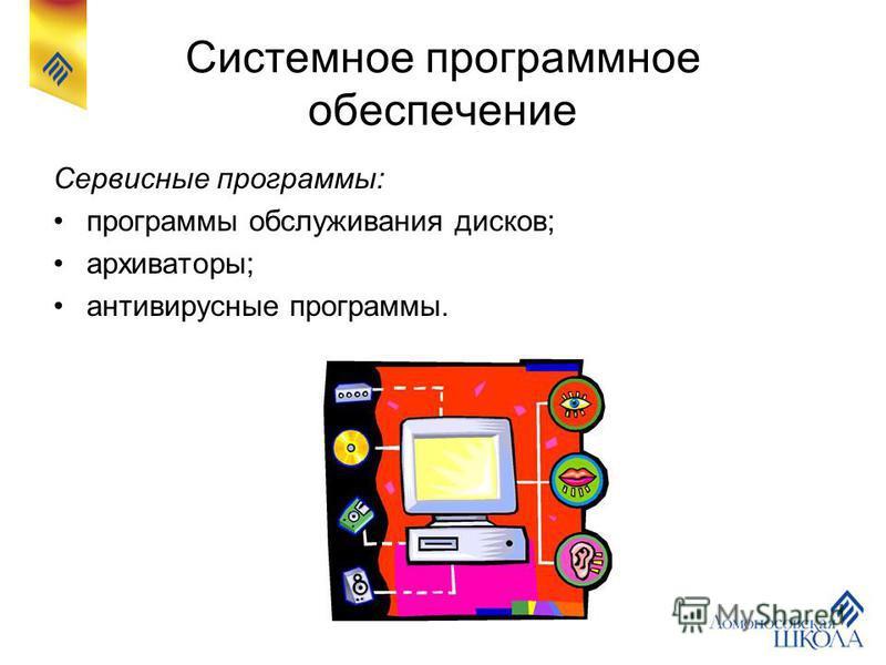 Системное программное обеспечение Сервисные программы: программы обслуживания дисков; архиваторы; антивирусные программы.