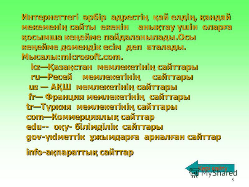 7 Домен WWW терминітермині Браузер Сервер Провайдер Модем Кейін қайту