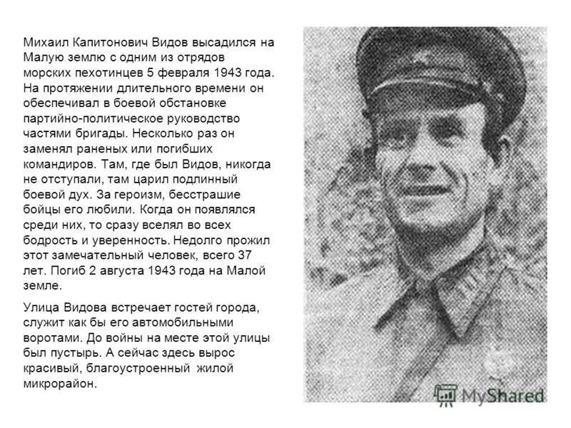 Михаил Капитонович Видов высадился на Малую землю с одним из отрядов морских пехотинцев 5 февраля 1943 года. На протяжении длительного времени он обеспечивал в боевой обстановке партийно-политическое руководство частями бригады. Несколько раз он заме