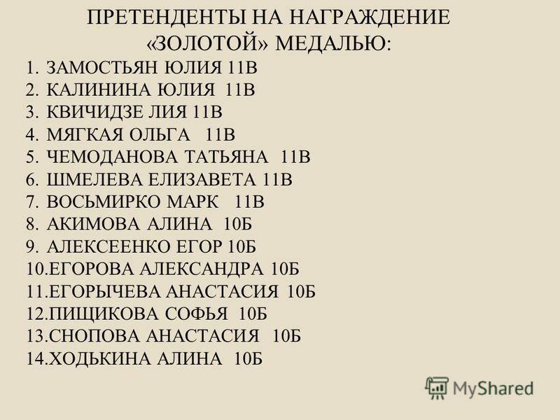 ПРЕТЕНДЕНТЫ НА НАГРАЖДЕНИЕ «ЗОЛОТОЙ» МЕДАЛЬЮ: 1. ЗАМОСТЬЯН ЮЛИЯ 11В 2. КАЛИНИНА ЮЛИЯ 11В 3. КВИЧИДЗЕ ЛИЯ 11В 4. МЯГКАЯ ОЛЬГА 11В 5. ЧЕМОДАНОВА ТАТЬЯНА 11В 6. ШМЕЛЕВА ЕЛИЗАВЕТА 11В 7. ВОСЬМИРКО МАРК 11В 8. АКИМОВА АЛИНА 10Б 9. АЛЕКСЕЕНКО ЕГОР 10Б 10.