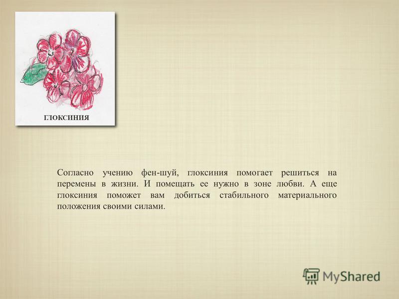 ГЛОКСИНИЯ Согласно учению фен-шуй, глоксиния помогает решиться на перемены в жизни. И помещать ее нужно в зоне любви. А еще глоксиния поможет вам добиться стабильного материального положения своими силами.