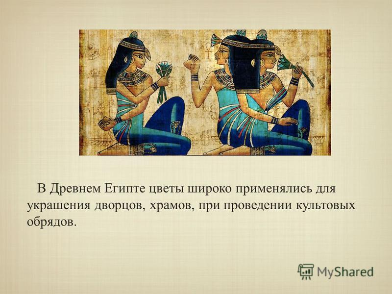 В Древнем Египте цветы широко применялись для украшения дворцов, храмов, при проведении культовых обрядов.