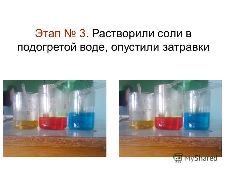 Этап 3. Растворили соли в подогретой воде, опустили затравки