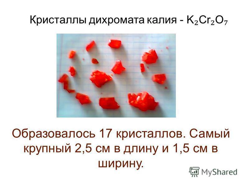 Кристаллы дихромата калия - K Cr O Образовалось 17 кристаллов. Самый крупный 2,5 см в длину и 1,5 см в ширину.