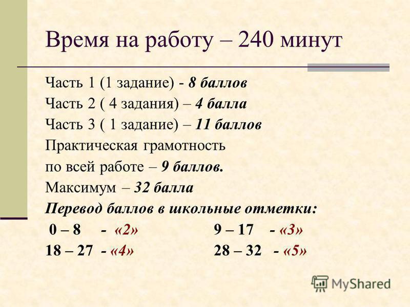 Время на работу – 240 минут Часть 1 (1 задание) - 8 баллов Часть 2 ( 4 задания) – 4 балла Часть 3 ( 1 задание) – 11 баллов Практическая грамотность по всей работе – 9 баллов. Максимум – 32 балла Перевод баллов в школьные отметки: 0 – 8 - «2» 9 – 17 -