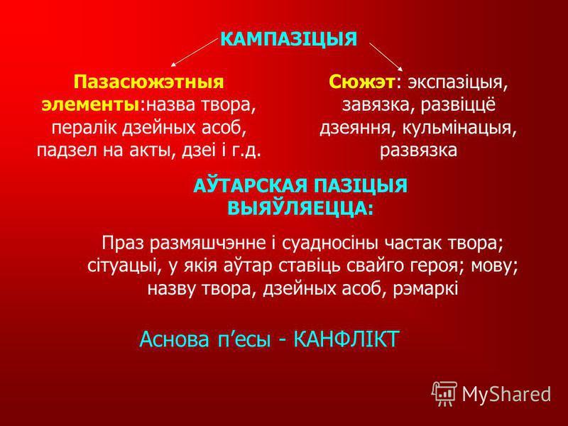 ДРАМА – ад грэч. - дзеянне Род літаратуры, у аснове якога – паказ напружанага, скразнога дзеяння, вырашэнне канфліктнай сітуацыі. Род літаратуры, у аснове якога – паказ напружанага, скразнога дзеяння, вырашэнне канфліктнай сітуацыі. ВІД КАМЕДЫЯ - гум