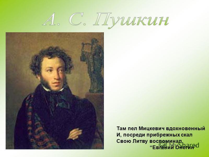 Там пел Мицкевич вдохновенный И, посреди прибрежных скал Свою Литву воспоминал. Евгений Онегин