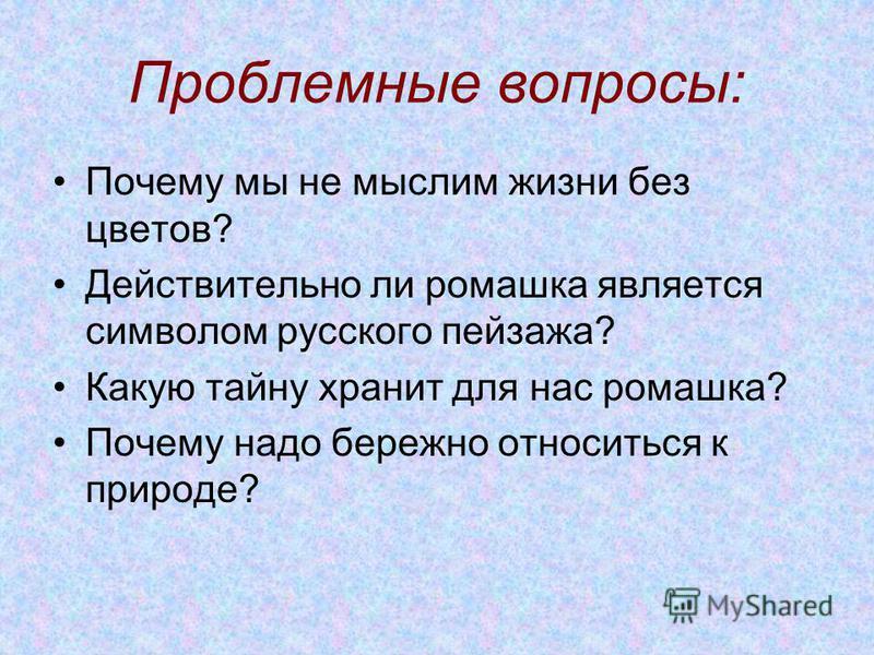 Проблемные вопросы: Почему мы не мыслим жизни без цветов? Действительно ли ромашка является символом русского пейзажа? Какую тайну хранит для нас ромашка? Почему надо бережно относиться к природе?