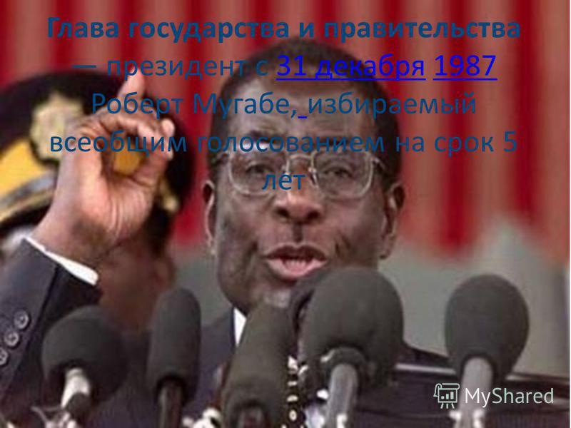 Глава государства и правительства президент с 31 декабря 1987 Роберт Мугабе, избираемый всеобщим голосованием на срок 5 лет 31 декабря 1987