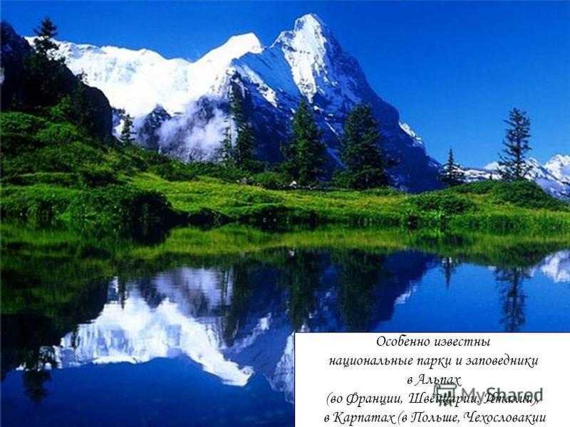 Особенно известны национальные парки и заповедники в Альпах (во Франции, Швейцарии, Италии), в Карпатах (в Польше, Чехословакии