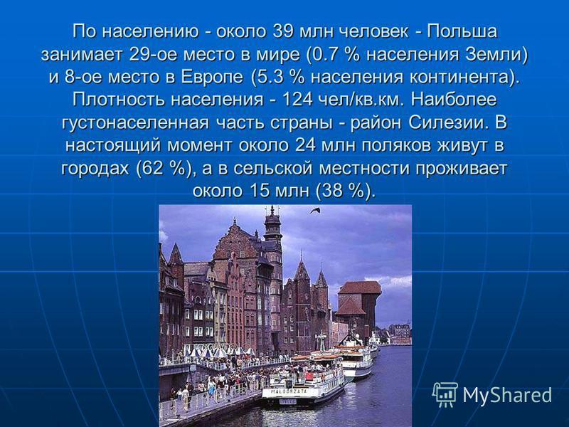 По населению - около 39 млн человек - Польша занимает 29-ое место в мире (0.7 % населения Земли) и 8-ое место в Европе (5.3 % населения континента). Плотность населения - 124 чел/кв.км. Наиболее густонаселенная часть страны - район Силезии. В настоящ