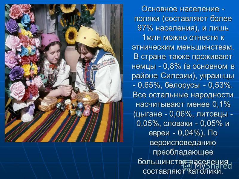 Основное население - поляки (составляют более 97% населения), и лишь 1 млн можно отнести к этническим меньшинствам. В стране также проживают немцы - 0,8% (в основном в районе Силезии), украинцы - 0,65%, белорусы - 0,53%. Все остальные народности насч