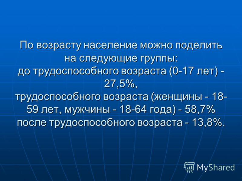 По возрасту население можно поделить на следующие группы: до трудоспособного возраста (0-17 лет) - 27,5%, трудоспособного возраста (женщины - 18- 59 лет, мужчины - 18-64 года) - 58,7% после трудоспособного возраста - 13,8%.