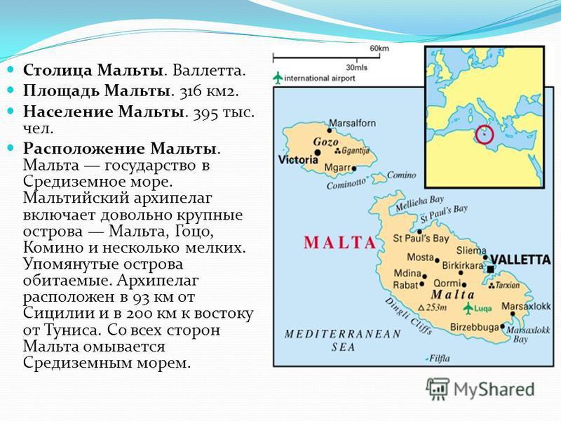 Столица Мальты. Валлетта. Площадь Мальты. 316 км 2. Население Мальты. 395 тыс. чел. Расположение Мальты. Мальта государство в Средиземное море. Мальтийский архипелаг включает довольно крупные острова Мальта, Гоцо, Комино и несколько мелких. Упомянуты