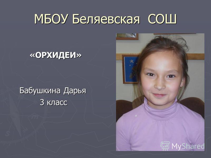 МБОУ Беляевская СОШ «ОРХИДЕИ» «ОРХИДЕИ» Бабушкина Дарья Бабушкина Дарья 3 класс 3 класс