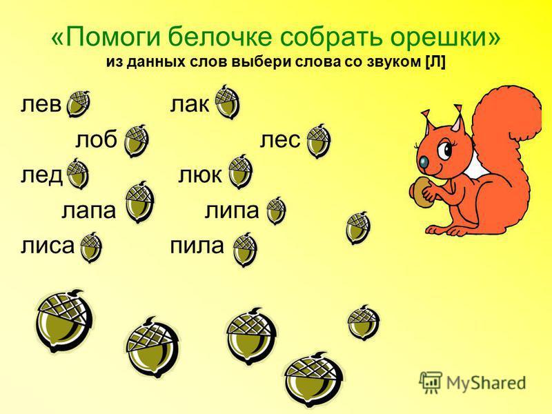 «Помоги белочке собрать орешки» из данных слов выбери слова со звуком [Л] лев лак лоб лес лед люк лапа липа лиса пила