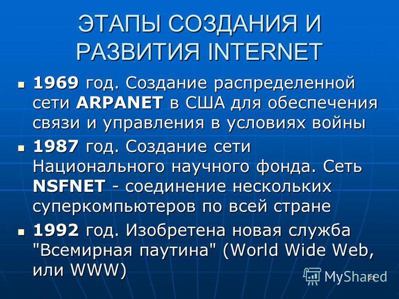 22 ЭТАПЫ СОЗДАНИЯ И РАЗВИТИЯ INTERNET 1969 год. Создание распределенной сети ARPANET в США для обеспечения связи и управления в условиях войны 1969 год. Создание распределенной сети ARPANET в США для обеспечения связи и управления в условиях войны 19
