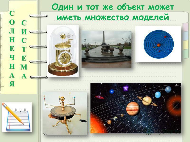 Один и тот же объект может иметь множество моделейСОЛНЕЧНАЯ СИСТЕМА