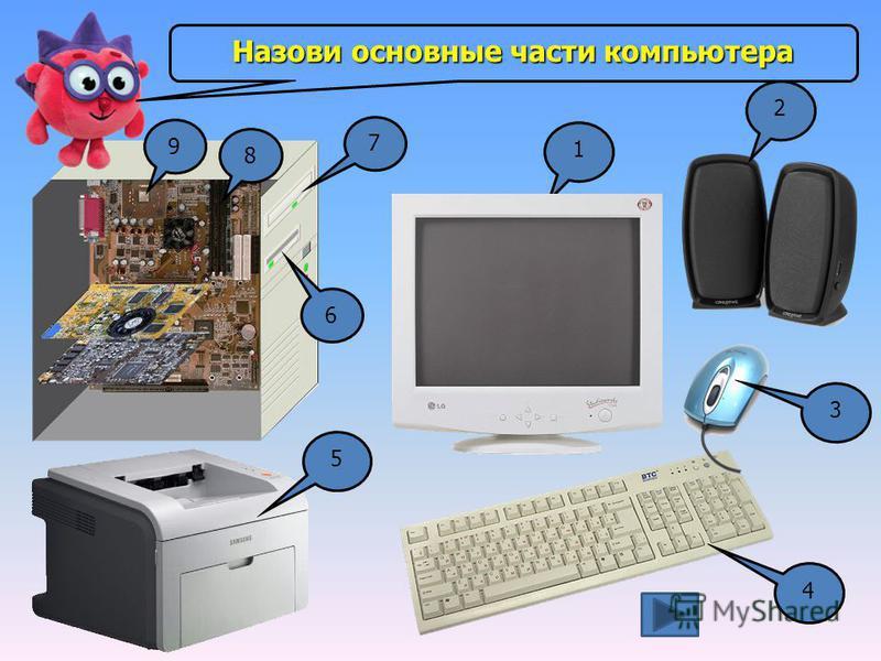 1 2 3 4 5 9 8 7 6Назови основные части компьютера