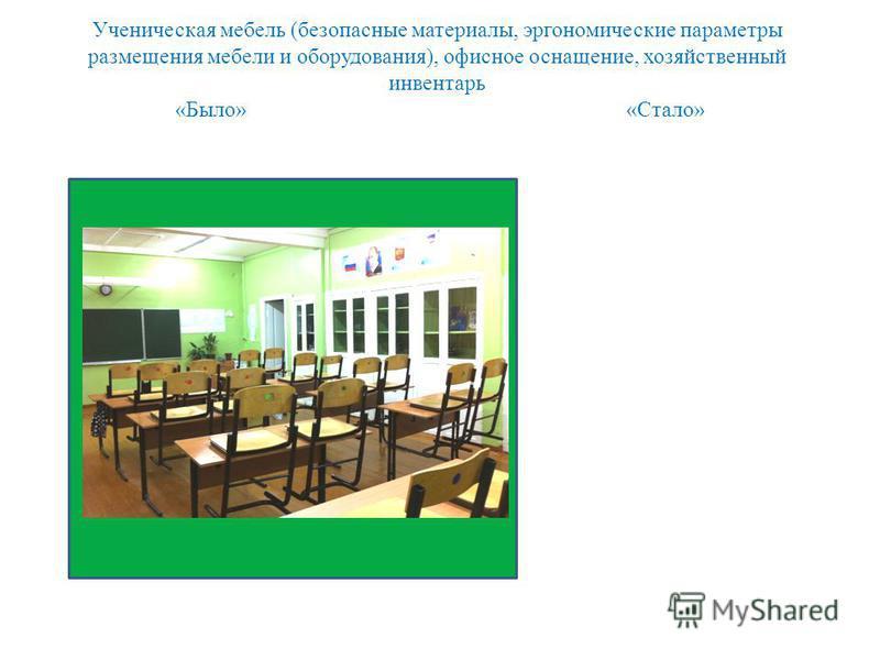 Ученическая мебель (безопасные материалы, эргономические параметры размещения мебели и оборудования), офисное оснащение, хозяйственный инвентарь «Было» «Стало»