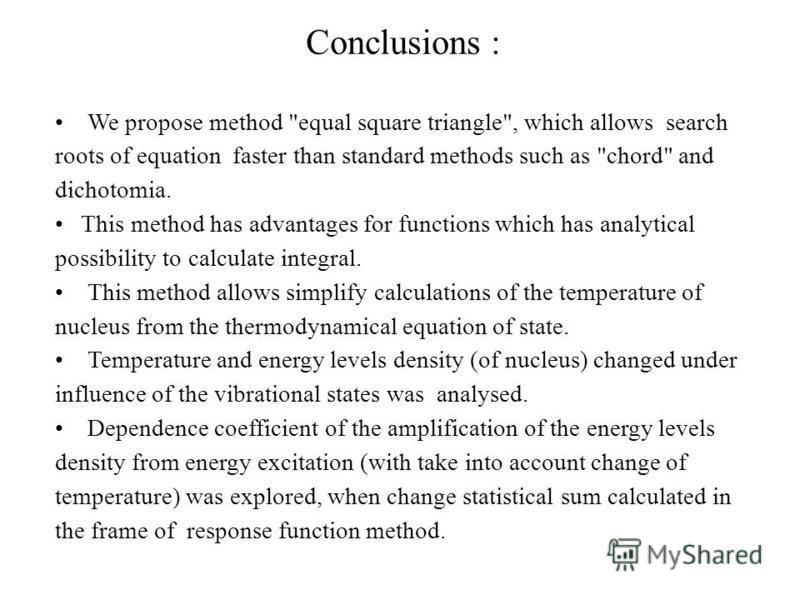Conclusions : We propose method