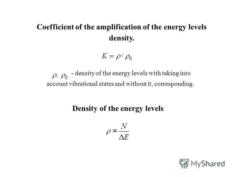 Coefficient of the amplification of the energy levels density. - density of the energy levels with taking into account vibrational states and without it, corresponding. Density of the energy levels