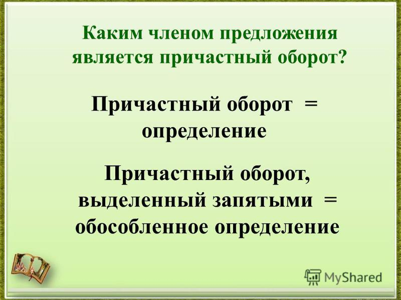 Каким членом предложения является причастныоборот? Причастныоборот = определение Причастныоборот, выделенный запятими = обособленное определение