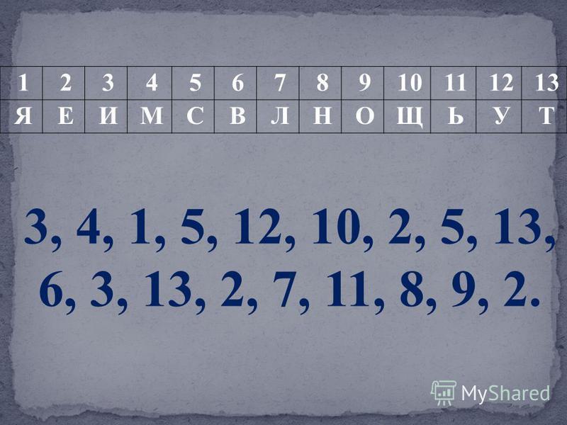 12345678910111213 ЯЕИМСВЛНОЩЬУТ 3, 4, 1, 5, 12, 10, 2, 5, 13, 6, 3, 13, 2, 7, 11, 8, 9, 2.